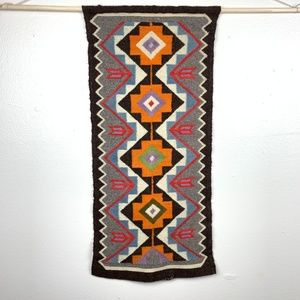 Vintage Woven Geometric Wall Tapestry Decor 1970s